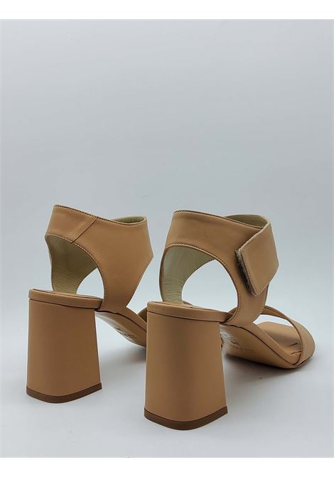 Women's Shoes Nude Leather Sandals with High Heel Strap and Square Toe Tattoo | Sandals | 109300