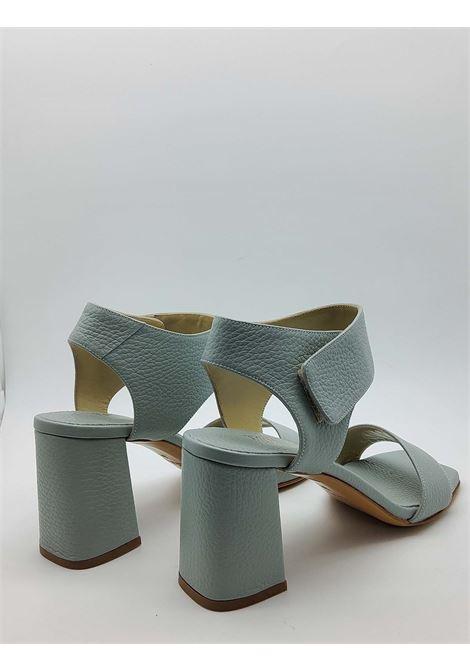 Calzature Donna Sandali in Pelle Celeste con Cinturino Tacco Alto e Punta Quadra Tattoo | Sandali | 109400