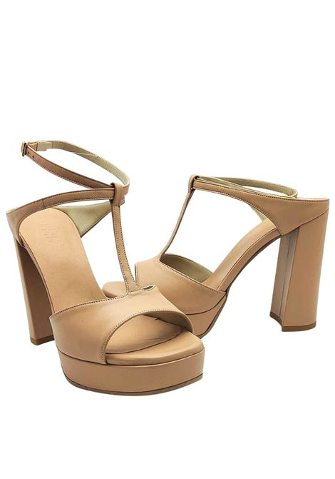 Women's Shoes Sandals in Nude Leather with Ankle Strap High Heel and Plateau Tattoo | Sandals | 117300