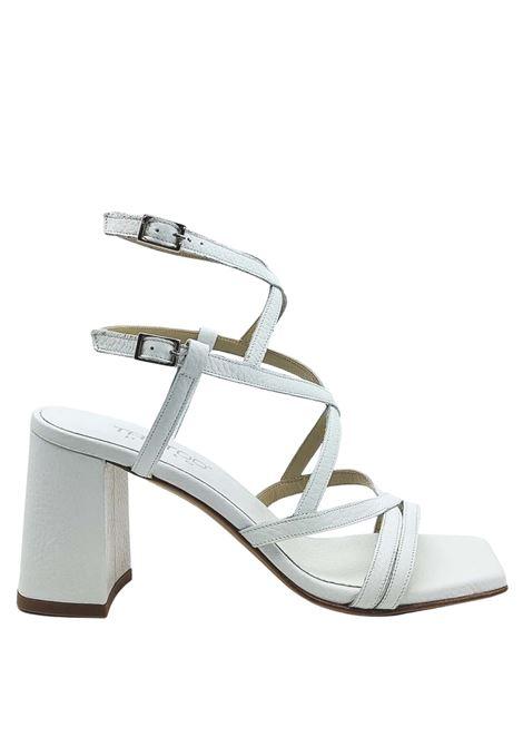 Calzature Donna Sandali In Pelle Bianca Punta Quadra Tacco Alto Con Cinturini Intrecciati Tattoo | Sandali | 119MILO100