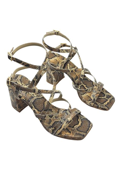 Women's Shoes Python Print Leather Sandals Square Toe High Heel With Intertwined Straps Tattoo | Sandals | 119MILO502
