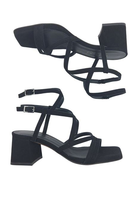 Women's Shoes Sandals In Black Suede Square Toe With Intertwined Straps Tattoo | Sandals | 119Q001