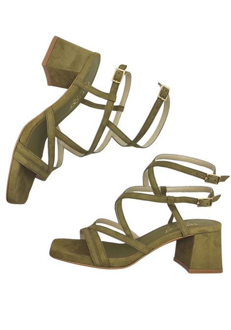 Women's Shoes Green Suede Sandals Square Toe With Intertwined Straps Tattoo | Sandals | 119Q005