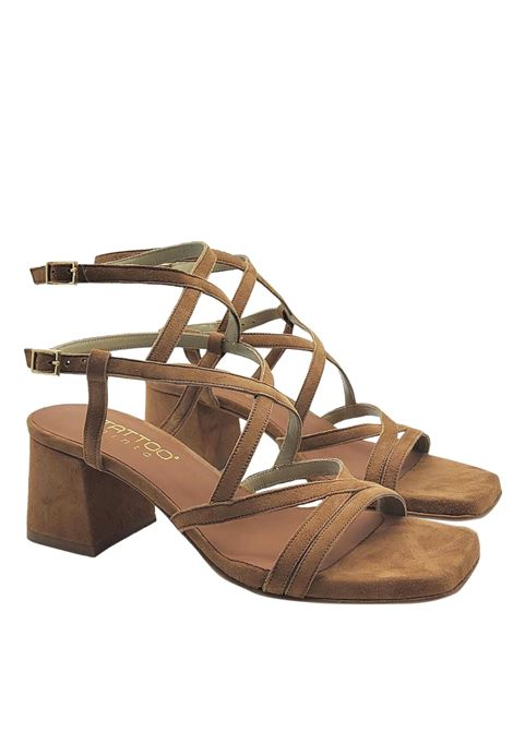 Women's Shoes Sandals In Leather Suede Square Toe With Intertwined Straps Tattoo | Sandals | 119Q014
