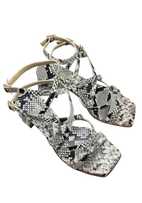 Women's Shoes Rock Python Leather Sandals Square Toe With Intertwined Straps Tattoo | Sandals | 119Q502