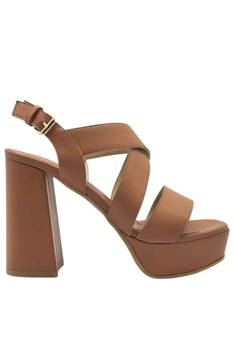 Women's Shoes Leather Sandals with Back Strap and High Heel and Plateau Tattoo | Sandals | 121014