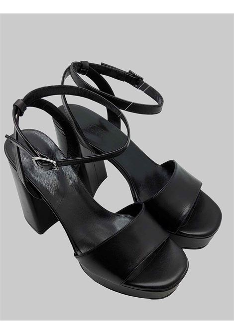 Women's Shoes High Heel and Plateau Sandals in Black leather with Ankle Strap Tattoo | Sandals | 122001