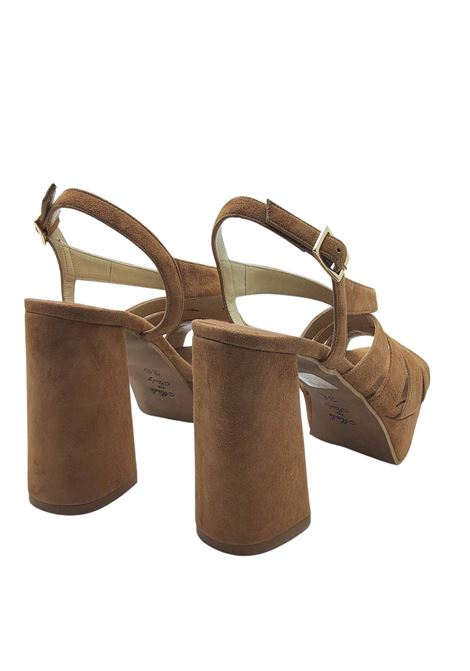 Women's Shoes Sandals in Leather Suede with Back Strap and High Heel and Plateau Tattoo | Sandals | 128014