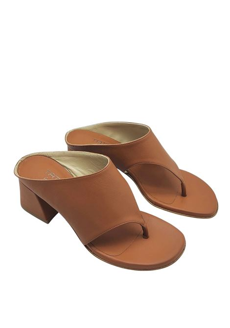 Women's Shoes Flip-Flops Sandals in Tan Leather with Band Tattoo | Sandals | 4105014