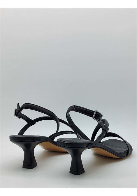 Calzature Donna Sandali In Pelle Nera con Tacco Basso e Cinturini sottili Tattoo | Sandali | 5011001