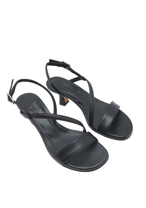 Women's Shoes Black Leather Sandals with Low Heel and Thin Straps Tattoo | Sandals | 5011001