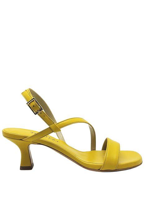 Calzature Donna Sandali In Pelle Gialla Tacco Basso e Cinturini sottili Tattoo | Sandali | 5011007