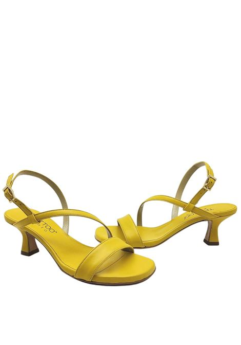 Women's Shoes Yellow Leather Sandals Low Heel and Thin Straps Tattoo | Sandals | 5011007