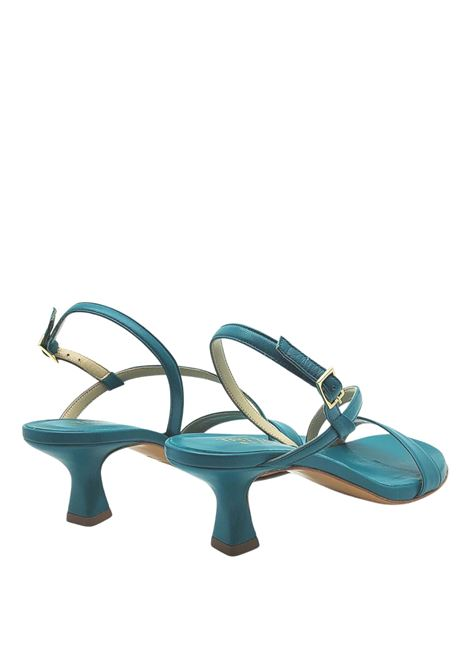 Women's Shoes Petrol Leather Sandals Low Heel and Thin Straps Tattoo | Sandals | 5011032