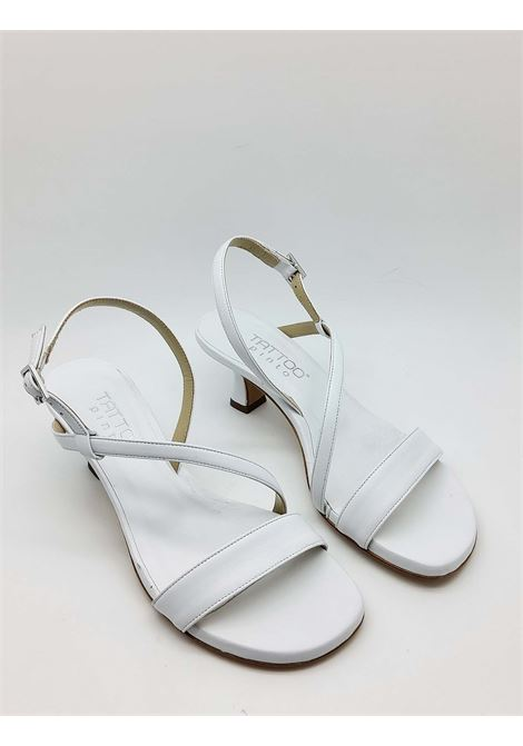 Women's Shoes White Leather Sandals Low Heel and Thin Straps Tattoo | Sandals | 5011100