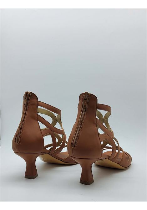 Calzature Donna Sandali In Pelle Cuoio con Zip Posteriore e Punta Quadra Tattoo | Sandali | 5025014