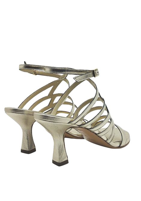 Women's Shoes Gold Leather Sandals With Straps and Side Buckle Closure Tattoo | Sandals | 7026602