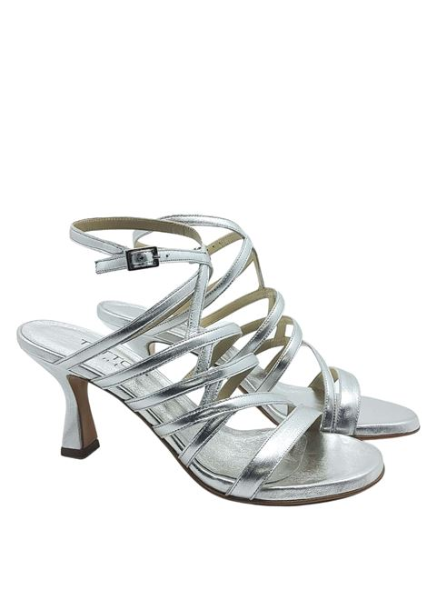 Women's Shoes Silver Leather Sandals With Straps and Side Buckle Closure Tattoo | Sandals | 7026604
