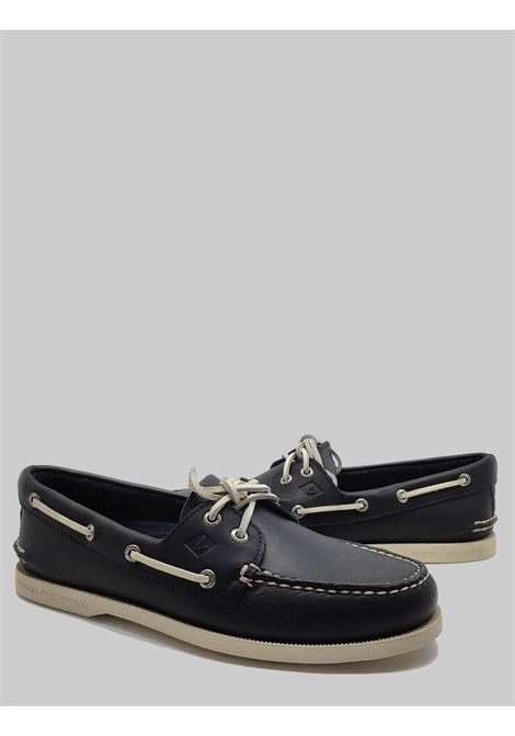 Men's Shoes Sperry Loafers in Blue Leather Leather Laces and Rubber Sole Top Sider | Mocassins | STS104105002