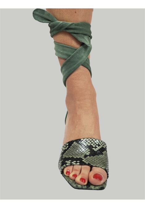 Women's Shoes Python Print Green Leather Sandals with Tone-on-Tone Suede Ankle Laces Toral | Sandals | TL12634006