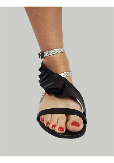 Women's Shoes Flat Sandals in Black Leather with Silver Braided Leather Straps and Leather Plissé Toral |  | TL12639001