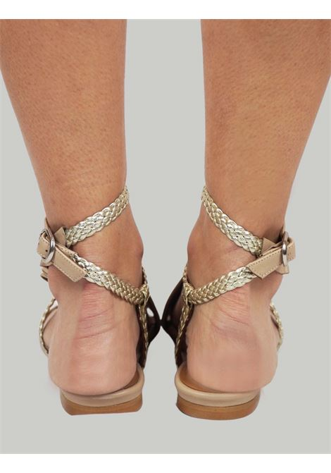 Women's Shoes Flat Sandals in Nude Leather with Silver Braided Leather Straps and Leather Plissé Toral |  | TL12639300