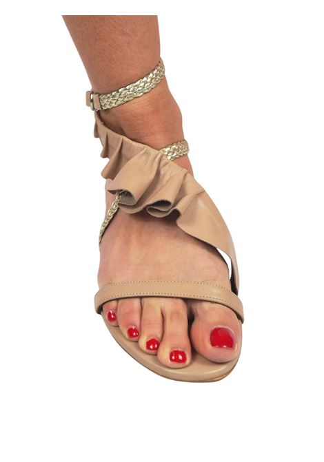 Women's Shoes Flat Sandals in Nude Leather with Silver Braided Leather Straps and Leather Plissé Toral | Flat sandals | TL12639300