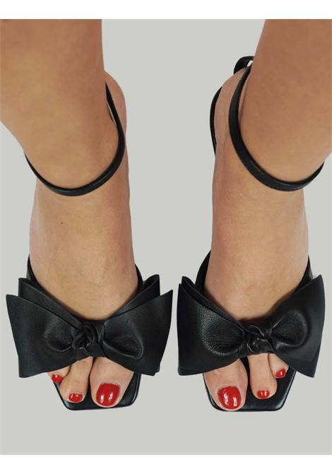 Women's Shoes Black Leather Sandals with Matching Leather Bow and Ankle Strap Toral | Sandals | TL12662001