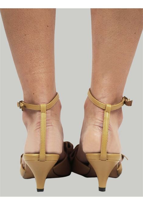 Women's Shoes Beige Leather Sandals with Matching Leather Bow and Ankle Strap Toral | Sandals | TL12662015