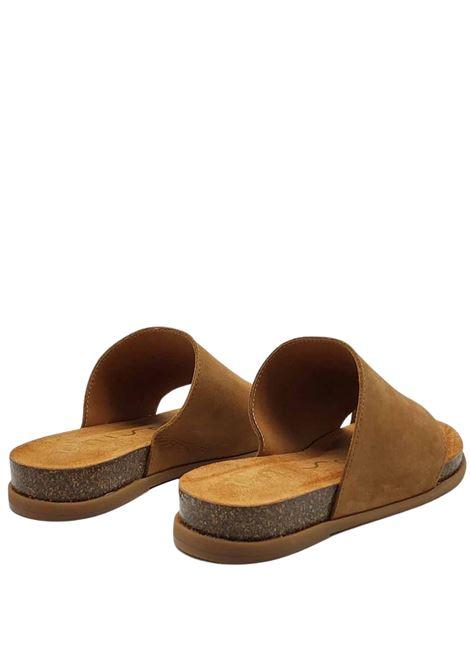 Calzature Donna Sandali Infradito in Pelle Cuoio con Fascione e Fussbett con Suola in Gomma Unisa | Sandali Flat | CALESIN014