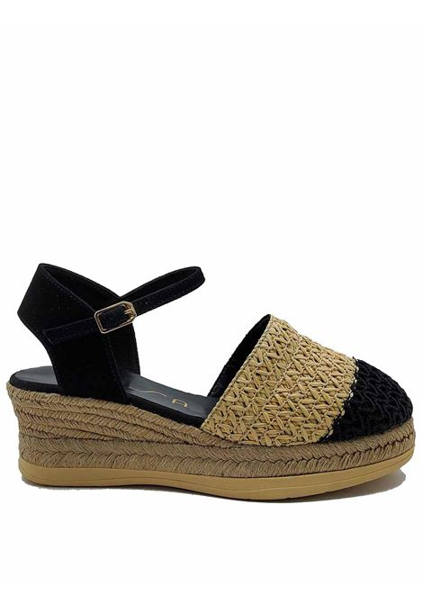 Women's Shoes Espadrilles in Black and Natural Bicolor Woven Fabric with Rope Wedge Unisa | Wedge Sandals | CANCIO001