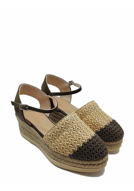 Women's Shoes Espadrilles in Green and Natural Bicolor Woven Fabric with Rope Wedge Unisa | Wedge Sandals | CANCIO005
