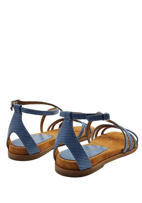 Calzature Donna Sandali Bassi in Pelle Stampa Tejus Celeste con Cinturino alla Caviglia e Tallone Chiuso Unisa | Sandali Flat | CARCER026