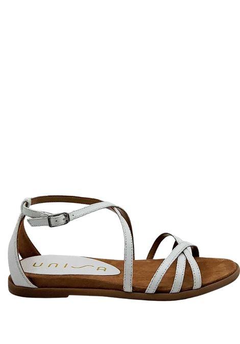 Calzature Donna Sandali Bassi in Pelle Stampa Tejus Bianca con Cinturino alla Caviglia e Tallone Chiuso Unisa | Sandali Flat | CARCER100