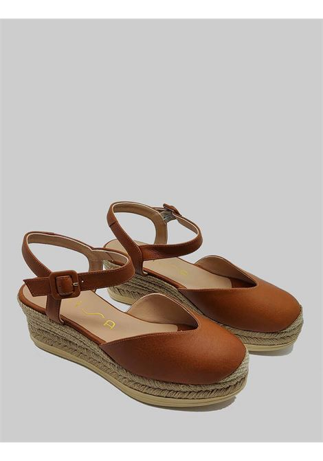 Women's Shoes Sandals Espadrilles in Tan Leather with Ankle Strap and Closed Toe Unisa | Sandals | CEINOS014