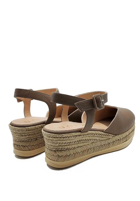 Women's Shoes Sandals Espadrilles in Taupe Leather with Ankle Strap and Closed Toe Unisa | Wedge Sandals | CEINOS023