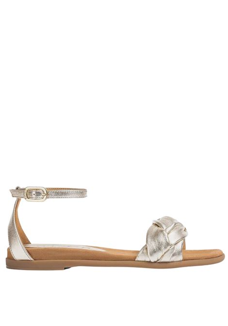 Women's Shoes Low Sandals in Braided Champagne Laminated Leather with Ankle Strap Unisa | Flat sandals | CELADA607