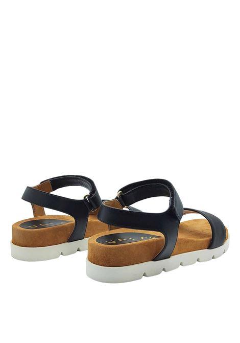 Calzature Donna Sandali in Pelle Nera Bassi con Cinturino alla Caviglia Unisa | Sandali | CEPADA001