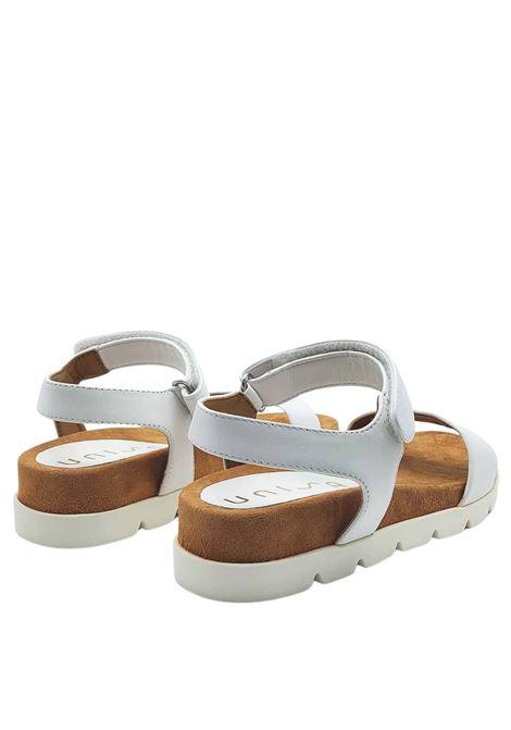 Calzature Donna Sandali in Pelle Bianca Bassi con Cinturino alla Caviglia Unisa | Sandali | CEPADA100