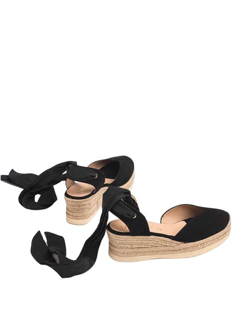 Calzature Donna Sandali Espadrilles in Camoscio Nero con Lacci alla Caviglia e Punta Chiusa Unisa | Sandali Zeppa | CHOZA001