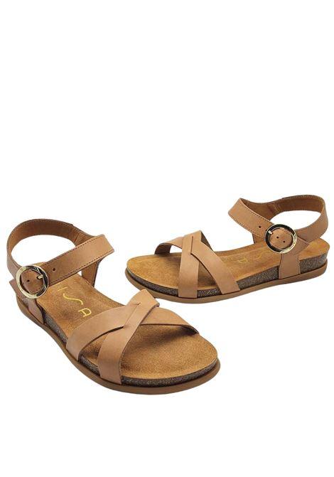 Calzature Donna Sandali in Pelle Cuoio con Fussbett e Cinturino alla Caviglia Unisa | Sandali | CINCEL014