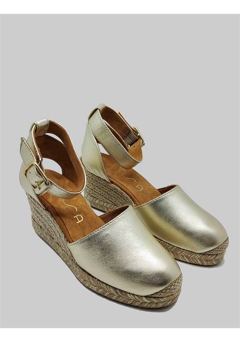 Women's Shoes Sandals Espadrilles in Platinum Leather with Ankle Strap and Rope Wedge Unisa | Sandals | CLIVERSIN600