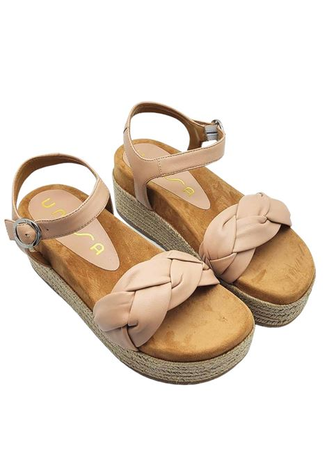 Calzature Donna Sandali in Pelle Nude a Treccia con Cinturino alla Caviglia e Zeppa in Corda Unisa | Sandali Zeppa | CLOY300