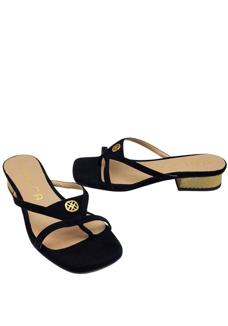 Calzature Donna Sandalo Infradito in Camoscio Nero con Fibbia e Tacco 50 in Oro Unisa | Sandali | DILMER001