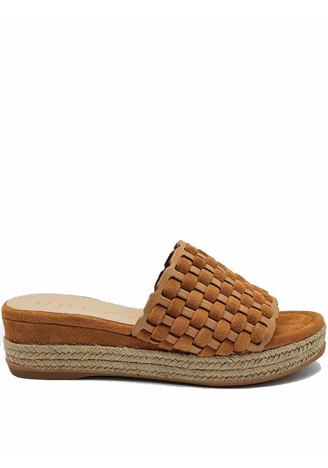 Women's Shoes Sandals in Leather and Suede Braided Leather with Running Wedge and Suede in Tint Unisa | Sandals | GALEGO014