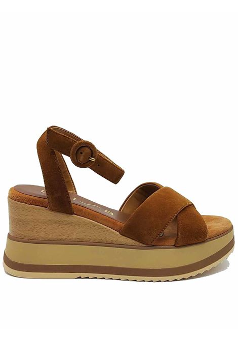 Women's Shoes Leather Sandals with Ankle Strap and High Wedge Unisa | Sandals | KADIO014