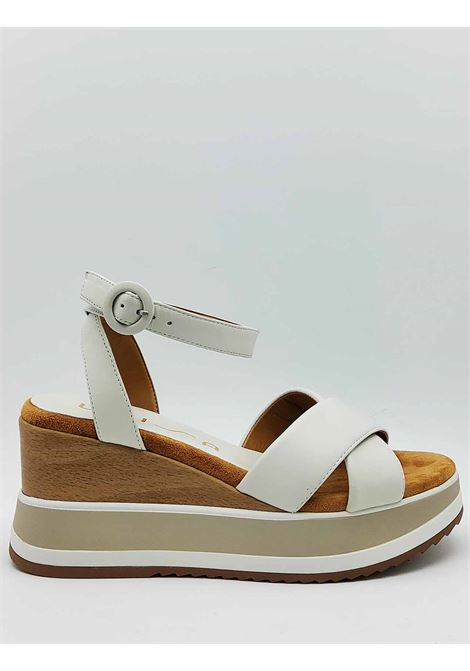 Women's Shoes Beige Leather Sandals with Ankle Strap and High Wedge Unisa | Sandals | KADIO100