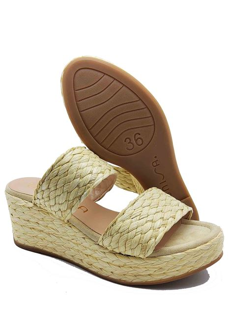 Women's Shoes Sandals in Rope and Natural Straw with Double Band with Straw Bandaged Wedge Unisa | Wedge Sandals | KALAMA200
