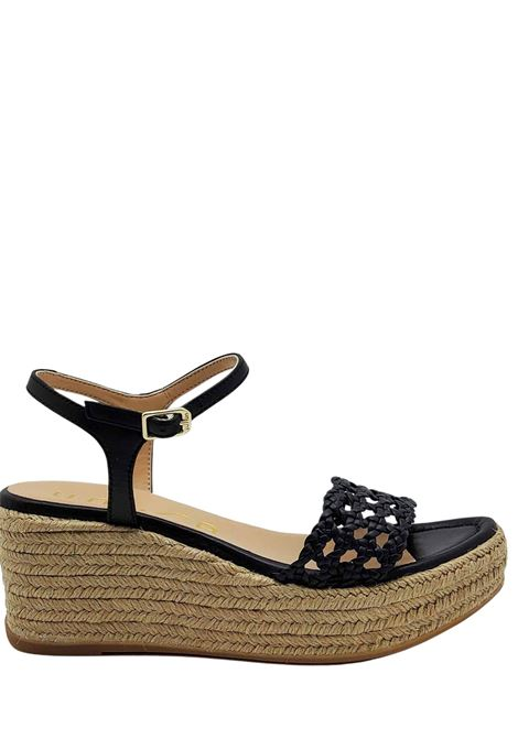 Women's Shoes Black Leather Sandals With Rope Wedge and Ankle Strap Unisa | Sandals | KAYTO001