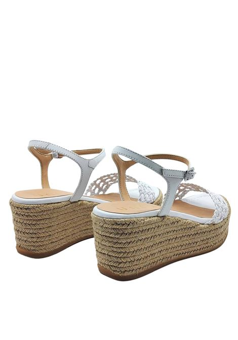 Women's Shoes White Leather Sandals With Rope Wedge and Ankle Strap Unisa | Sandals | KAYTO100